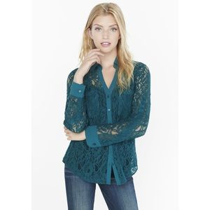 Express Original Fit Portofino Shirt Green Lace XL